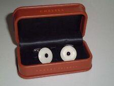 $335 NIB ROBERT TALBOTT CERAMIC .925 Black center sterling silver cufflinks