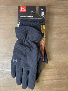Under Armour Womens Fleece Gloves Infrared Black Soft Phone Touchable Small