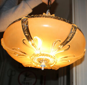 Antique Pale Amber Pink Art Deco Mount Ceiling Light Fixture c. 1930's Rewired