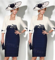 Plus Size 6-30 Lace Mother Of the Bride Dress Blue Wedding Guest Outfit Jacket