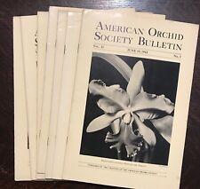 AMERICAN ORCHID SOCIETY BULLETIN, Original 1942 Issues (Lot of 7), JUNE-DEC
