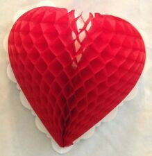 "Red 10"" Waffle Paper Heart Valentine Card Stock Decoration"
