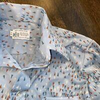 Vtg 60s 70s Disco Shirt KMART All Over Print Midcentury Mod POLYESTER Mens 15 32