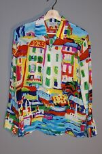 MICHAEL LEU 100% Silk Venice Multicolor Printed Button Down Top Blouse Artsy S
