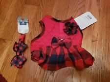 New listing Dog X small vest harness and collar set red plaid christmas