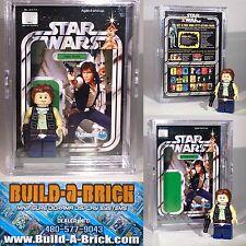 Star Wars Han Solo custom MINIFIGURE w/ Display Case & lego stand 177