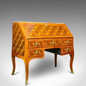 Antique Bureau, French, Marble Top, Kingwood, Marquetry Desk, Circa 1900