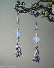 Howling Wolf and Opalite Moon Dangly Earrings - Pagan Gothic Fantasy