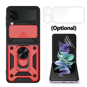 For Samsung Galaxy Z Flip 3 5G Magnetic Ring Holder Case / Lens&Screen Protector