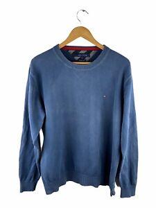 VINTAGE Tommy Hilfiger Pullover Sweater Mens Size XL Blue Long Sleeve Jumper
