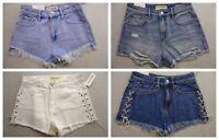 New PacSun Womens Blue White Denim Cut Off Jean Shorts High Rise Shorts 22 - 27