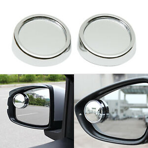 """2"""" Universal 2x Wide Angle Convex Rear Side View Blind Spot Silver Round Mirrors"""