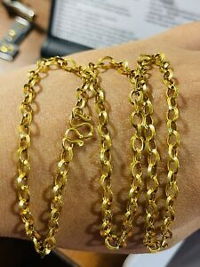 """22K Yellow Real Saudi Gold 916 Women's Rolo Chain Necklace 20"""" Long 6.8g 4mm"""