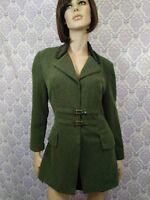 VTG Joseph Ribkoff Womens Jacket Blazer Sz 10 Soft Stretch Velvet Collar Green