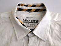 Camp David Regular Fit Herren Hemd Langarm Weiß Unifarben Gr. XXL