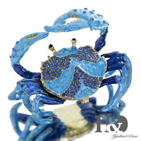 H&D Blue Crab Bejeweled Collectible Trinket Jewelry Box for Rings and Keepsakes