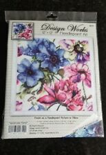 """Needlepoint Kit - Design Works 12"""" Watercolor Floral Pillow or Picture"""