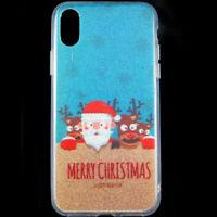"Custodia cover Babbo Natale per iPhone X 10 5.8"" case TPU glitter brillantini XS"