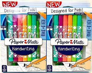 2 Paper Mate Handwriting Designed For Kids Washable Black Ink 12 Ct Marker Pens