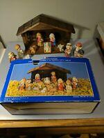 Vtg 12 PC Childrens Nativity Set fine grain porcelain bisque figures wood Creche