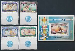 LN49171 Belize 1983 christmas pope John Paul II fine lot MNH