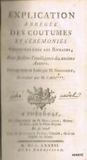 NIEUPOORT EXPLICATION ABRÉGÉE COUTUMES CÉRÉMONIES OBSERVÉES CHEZ  ROMAINS 1782