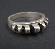 3D Ridged Ribbed Sterling Silver Stacker Ring Size 9.5 Signed AV RS1267