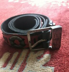 Christian Audigier Red&Black Genuine Leather Belt Made in FRANCE 32 to 38