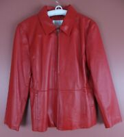 LTR0608- WORTHINGTON Womens Genuine Leather Zip Front Jacket Deep Bright Red L