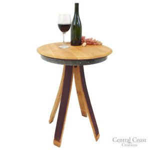 Inverted Leg Wine Barrel End Side Chair Sofa Table Rustic Furniture Living Room