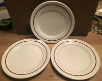 SET (3) Retro Buffalo China Red Pin Stripe Restaurant Ware 9 inch Dinner Plates