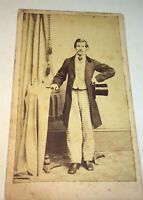 Antique American Civil War Era Victorian Fashion Dapper Gentleman, Hat CDV Photo