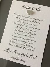 Will you be my / our Godmother Godfather Godparents Poem Request Card & Envelope