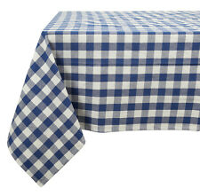 Cotton Tablecloth Checkered Blue U0026 White