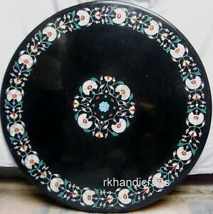 24 Inches Round Marble Sofa Table Top with Gemstones Inlaid Patio Coffee Table