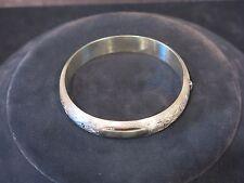 MARATHON SILVER BANGLE HINGED BRACELET WITH DIAMOND CUT FLORAL DESIGN