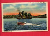 AKRON OH PORTAGE LAKES LAKE  BOAT   BETTY CLARK KENTON OHIO 1950  POSTCARD
