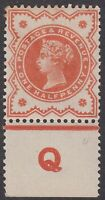GB QV 1/2d Vermilion SG197 Control Q Halfpenny Mint Hinged Jubilee Stamp