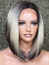 Women Lace Front Wig Straight Fashion Blonde Dark Roots Hair Piece 3T4/613 LBY