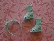 Barbie Doll Shoes Flat Foot Gladiator Turquoise Sandals Fringe & Headband,  LOT