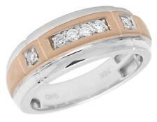 Men's 10K Two-tone Rose White Gold Real Diamond Wedding Band Ring 8mm .25ct