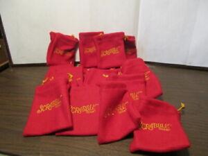 "18 Genuine Scrabble Drawstring Red Cloth Tile Letter Storage Bag 3"" x 3 1/2"""