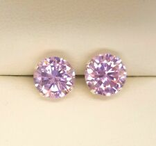 PINK SAPPHIRE 925 SILVER STUD EARRINGS  ROUND 8MM CREATED STONE SOLID SILVER