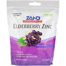 Herbalozenge, Elderberry Zinc, Sweet Elderberry, 80 Lozenges