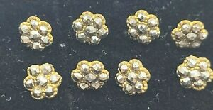 """Marcasite Matched Set Sewing Buttons Lot of 8 Vintage Cut Steel 1/4"""" NICE"""