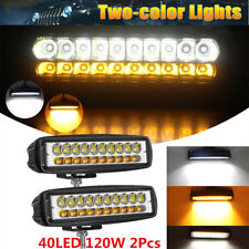 Waterproof 2Pcs 120W Car 40LED Offroad LED Work Light Dual Color White &Amber