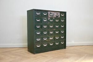 DELIVERY £60 Mid Century Vintage Green Industrial Metal Chest of Drawers