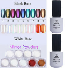 11pcs BORN PRETTY Nail Glitter Mirror Powder Topcoat Base Coat Gel Polish Set