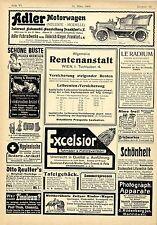 Adler Motorwagen Frankfurt a.M. Kinderwagen Zeitz Rentenanstalt Wien Anno...1904