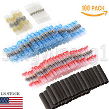 100pcs Solder Seal Heat Shrink Butt Wire Connector Copper Waterproof Terminal US
